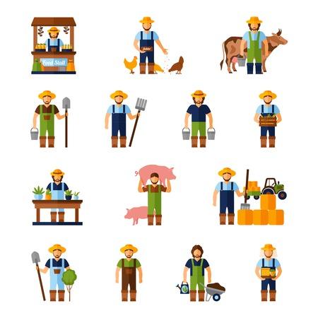 granjero: Agricultores y jardineros iconos agricultura plana conjunto aislado ilustración vectorial Vectores