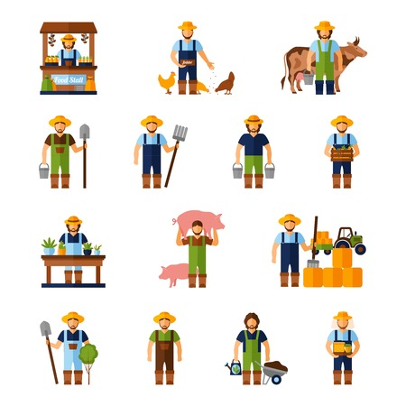 Farmers and gardeners flat agriculture icons set isolated vector illustration Ilustração