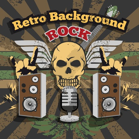 hard: Retro rock music background with skull and loud speakers vector illustration Illustration