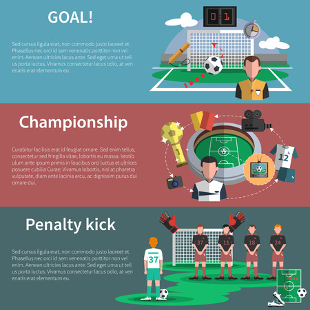 Soccer sport world cup match penalty kick goal flat banners set abstract shadow isolated vector isolated illustration Illustration