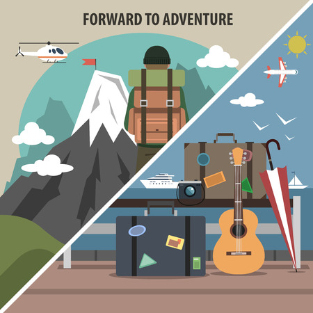 summit: Mountain vacation packages and tours adventure travel company hiking diagonal isolated pictograms  banner flat abstract vector illustration