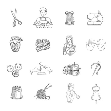 tailoring: Sketch handmade hand drawn icons set with tailoring and sewing equipment isolated vector illustration