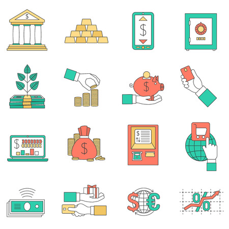 rates: Banking business with exchange rates cash and credit cards icons set flat isolated vector illustration