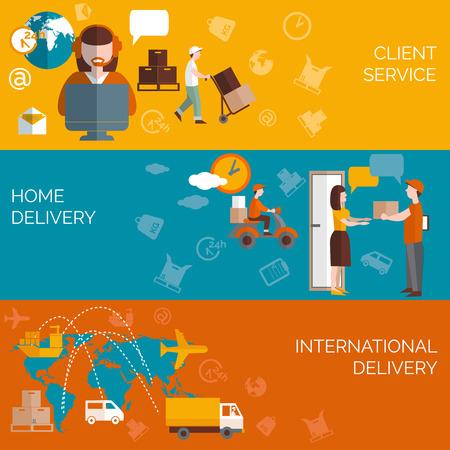 Wereldwijde logistieke thuis pakket levering klanten service concept 3 vlakke horizontale banners samenstelling abstract geïsoleerde vector illustratie Stock Illustratie