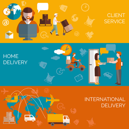 delivery: Worldwide logistic home package delivery clients service concept 3 flat horizontal banners composition abstract isolated vector illustration