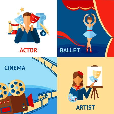actors: Art and culture design concept set with actor ballet cinema artist flat icons isolated vector illustration