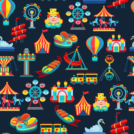 amusement park rides: Amusement park seamless pattern with children attractions flat vector illustration