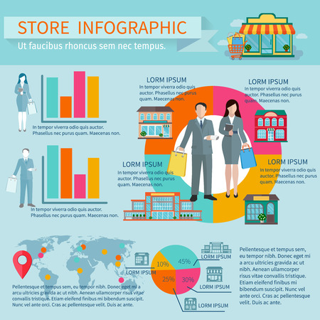 preference: Stores buildings  and shopping infographic set with figures percentage and diagrams flat vector illustration Illustration