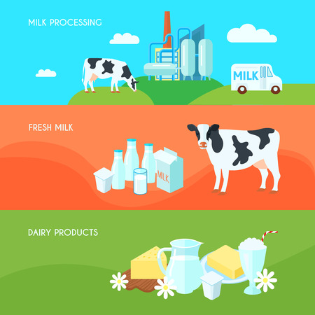 milk cans: Milk farm dairy products flat horizontal banners set with cream yoghurt and cheese abstract isolated vector illustration