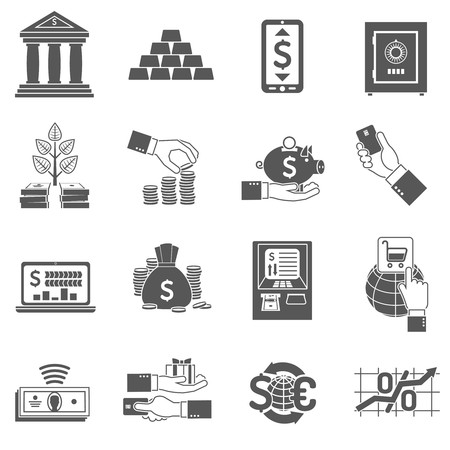 banking and finance: Banking finance and investment icon black set isolated vector illustration