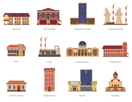 business buildings: Vintage city buildings of hospital fire station and downtown business center icons set abstract isolated vector illustration. Editable EPS and Render in JPG format