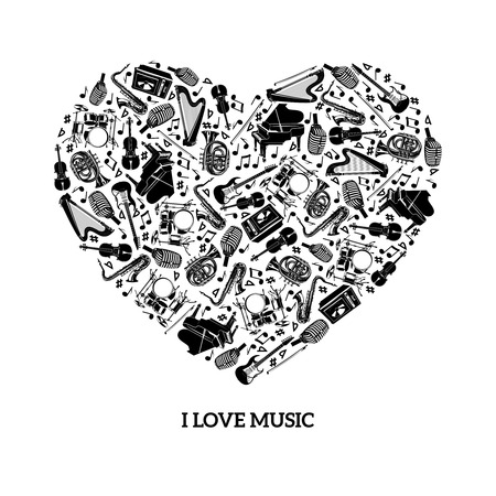 guitar illustration: Love music concept with black icons musical instruments in heart shape vector illustration