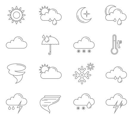 Weersverwachting pictogrammen schema set met geïsoleerde zon wolken storm symbolen vector illustratie