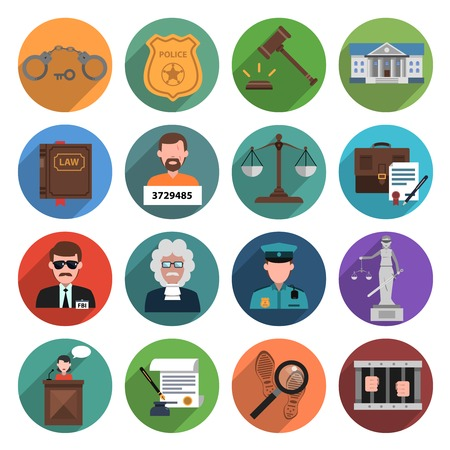 abogado: Icono de la Ley conjunto plana con el abogado esposas escalas aisladas martillo ilustración vectorial