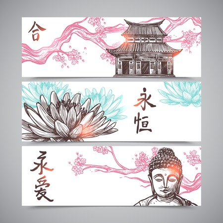 chinese buddha: Asian horizontal banners set with hand drawn sakura branch and buddha isolated vector illustration Illustration