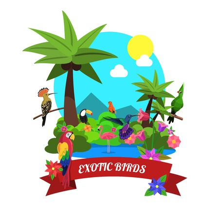 exotic birds: Exotic birds concept with tropical island nature flat vector illustration Illustration
