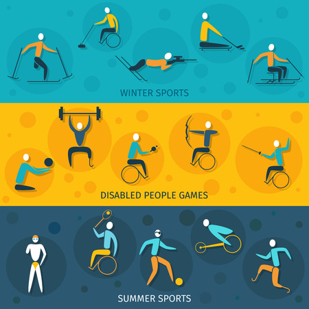 disabled sports: Disabled sports banners set isolated with winter and summer games elements isolated vector illustration