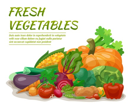 beet: Fresh vegetables set with beet onion corn pepper vector illustration Illustration