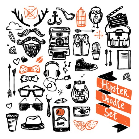illustration people: Sketch hipster set with trendy fashion elements isolated vector illustration