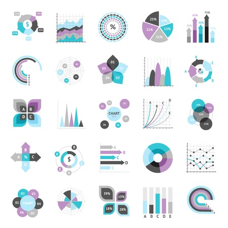 Business charts graphs and infographic elements icons set isolated vector illustration Illustration