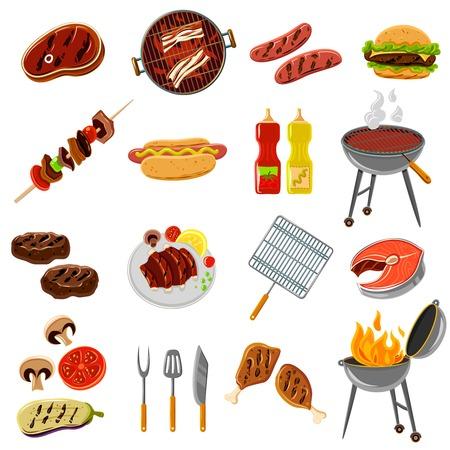 chorizos asados: Barbacoa y parrilla iconos conjunto con la carne y carne de pescado y las herramientas de ilustraci�n vectorial aislado