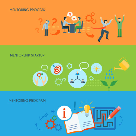 public relations: Business public relations in education mentorship process program concept flat horizontal banners set abstract isolated vector illustration Illustration