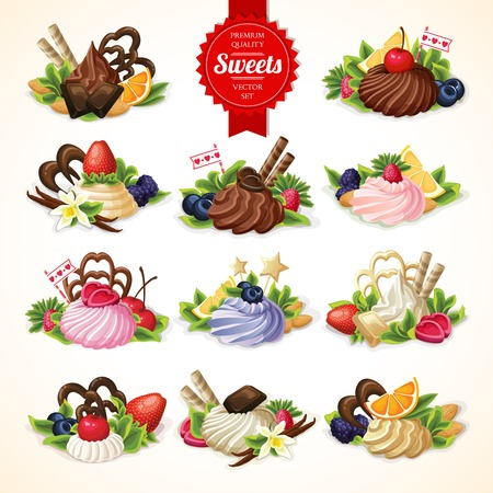 dessert: Big decorative sweets dessert food set with chocolate berry and vanilla cream vector illustration