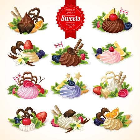 Big decorative sweets dessert food set with chocolate berry and vanilla cream vector illustration