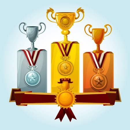 ribbon banner: Golden cups and medal trophies on winners podium cartoon vector illustration