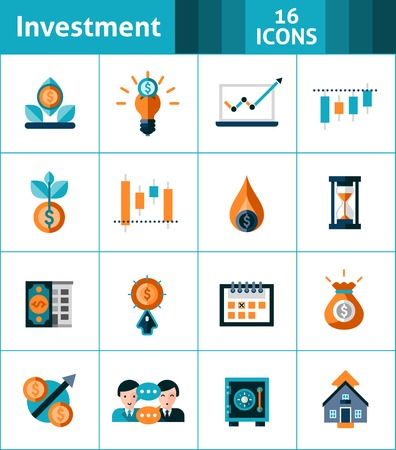 Investment icons set with market analysis stock exchange symbols isolated vector illustration Vettoriali