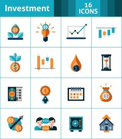 Investment icons set with market analysis stock exchange symbols isolated vector illustration Illustration