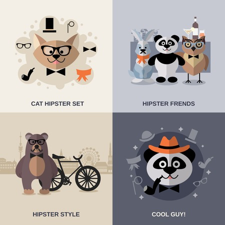 illustration cool: Animal hipster design concept set cool characters flat icons isolated vector illustration