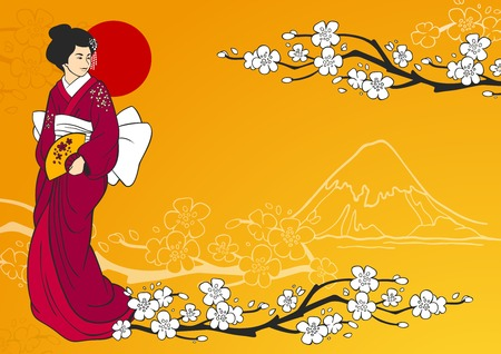 Geisha on traditional japanese background with sakura flowers and mountain silhouette vector illustration Çizim