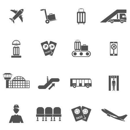 set going: Airport black flat icons set with airplane tickets luggage check isolated vector illustration
