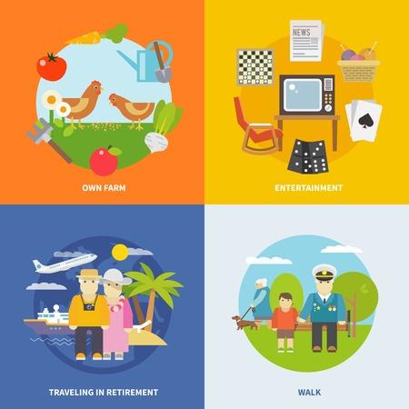 vida social: Concepto de diseño Pensionistas vida ajustado con el entretenimiento de jubilación y viajar iconos planos aislados ilustración vectorial Vectores