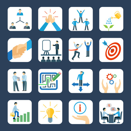 Personal development and teamwork mentoring business programs flat icons set with hands symbols abstract isolated vector illustration