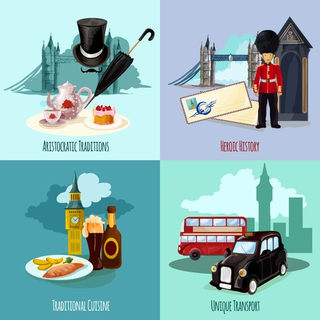 social history: London touristic design concept set with cuisine and transport cartoon icons isolated vector illustration Illustration