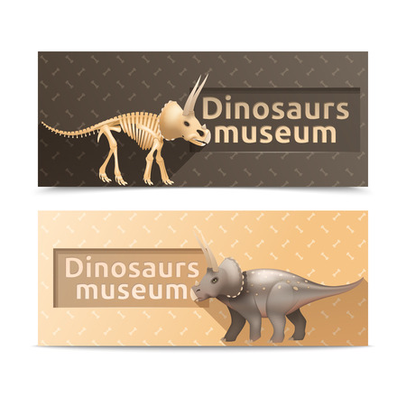 triceratops: Horizontal triceratops dinosaurs museum banners and plates isolated vector illustration