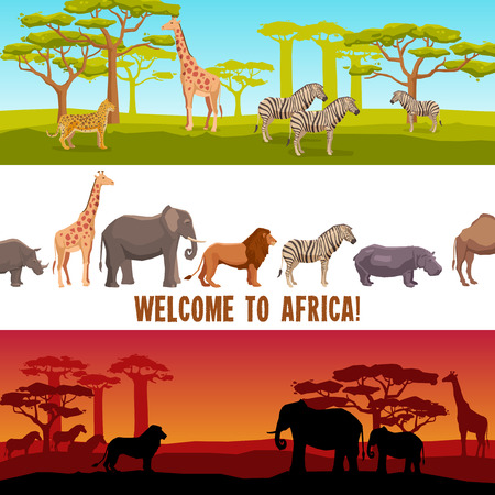 zebra: Horizontal colorful African animals with trees banners set isolated vector illustration