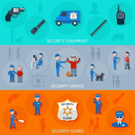 operative: Security armed safeguard operative service duties and equipment flat horizontal banners set abstract isolated vector illustration Illustration