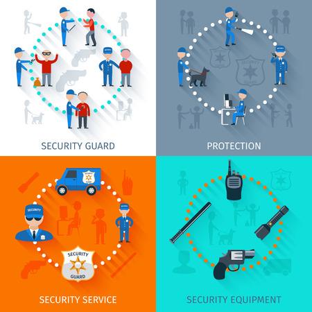 guardia de seguridad: Oficial de guardia de seguridad de la vigilancia y el equipo de protección 4 iconos planos aislados composición de la plaza banner abstracto ilustración vectorial