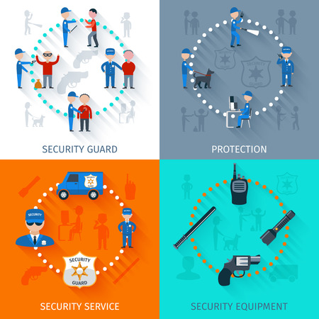 security monitor: Security guard officer protective surveillance and equipment 4 flat icons square composition banner abstract isolated vector illustration Illustration