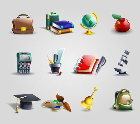 cartoon world: Education and school cartoon icons set with school bag books and stationery shadow isolated vector illustration