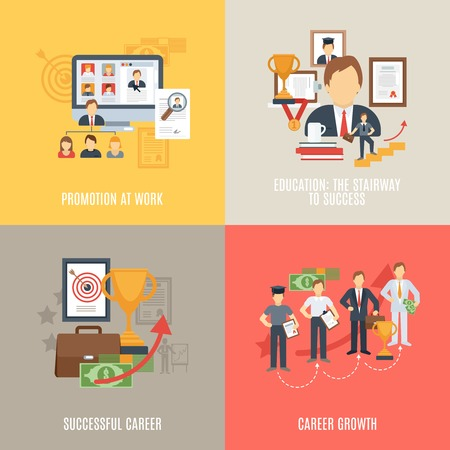 job promotion: Career design concept set with work promotion flat icons isolated vector illustration Illustration