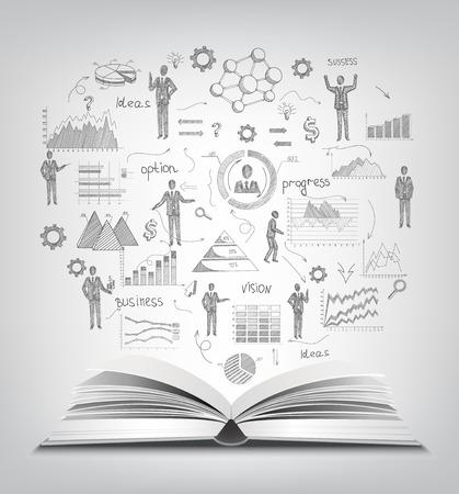 bocetos de personas: Concepto de negocio con el libro abierto y realista empresarios croquis y gráficos ilustración vectorial Vectores