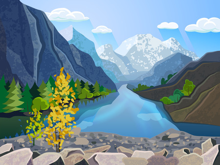 tree service pictures: Quality landscape wallpaper summer mountain range with river and golden tree  picturesque poster print abstract vector illustration Illustration