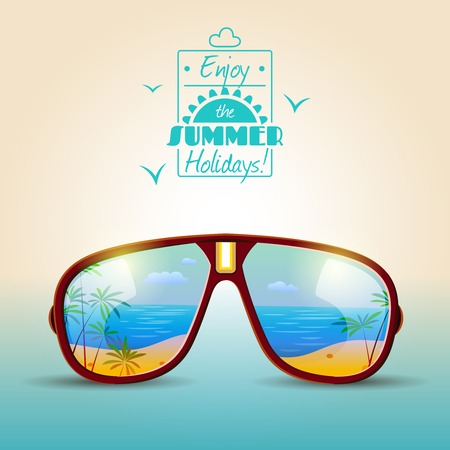 sunglasses: Summer holidays poster with sunglasses with sea beach in reflection vector illustration Illustration