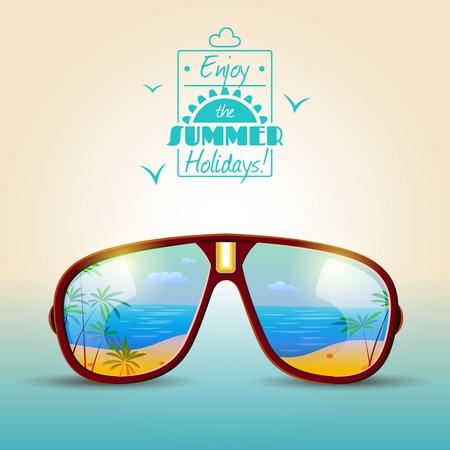 sunglasses reflection: Summer holidays poster with sunglasses with sea beach in reflection vector illustration Illustration