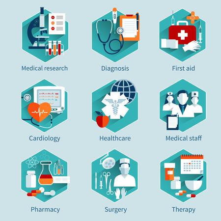 recetas medicas: Conceptos médicos fijados con diagnóstico investigación iconos de primeros auxilios aislado ilustración vectorial Vectores