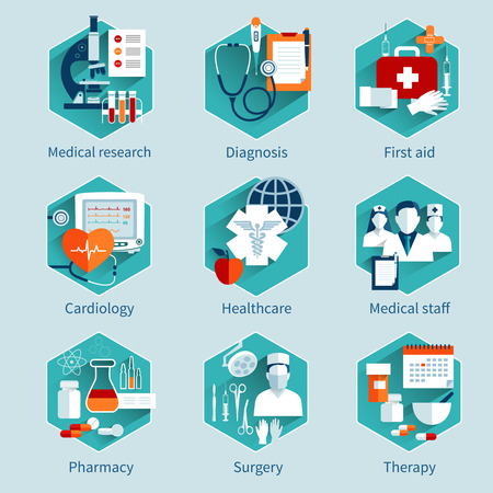 surgery doctor: Medical concepts set with research diagnosis first aid icons isolated vector illustration